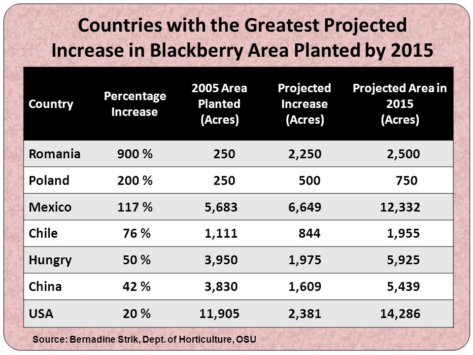 Countries with the Greatest Projected Increase in Blackberry Area Planted by 2015