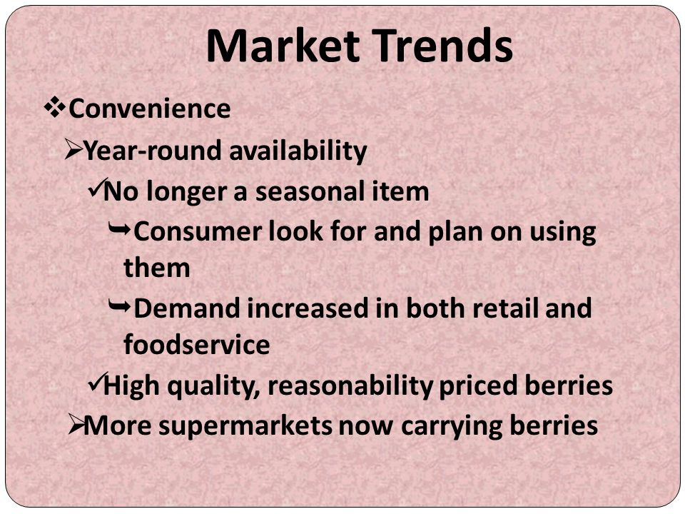 Market Trends Convenience Year-round availability