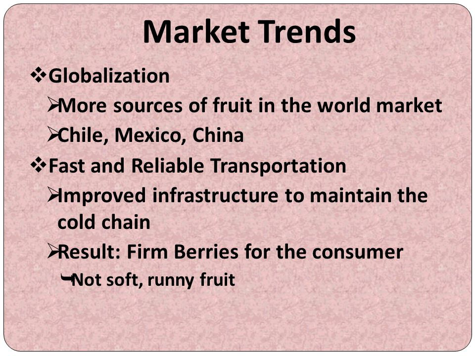 Market Trends Globalization More sources of fruit in the world market