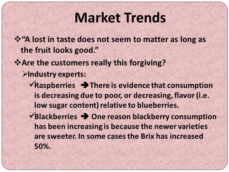 Market Trends A lost in taste does not seem to matter as long as the fruit looks good. Are the customers really this forgiving