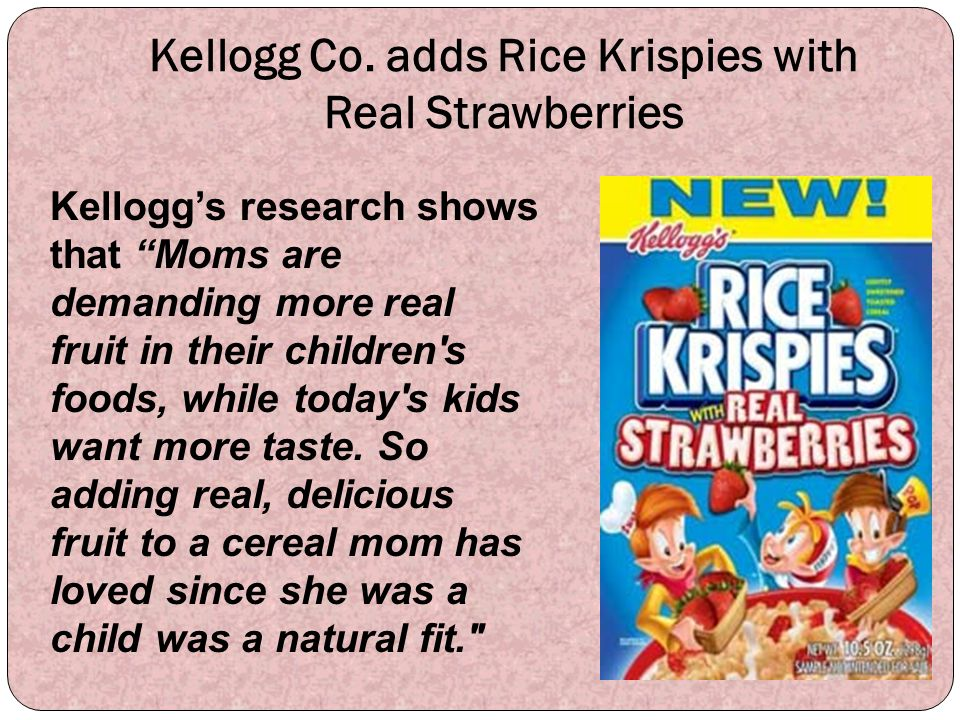 Kellogg Co. adds Rice Krispies with Real Strawberries