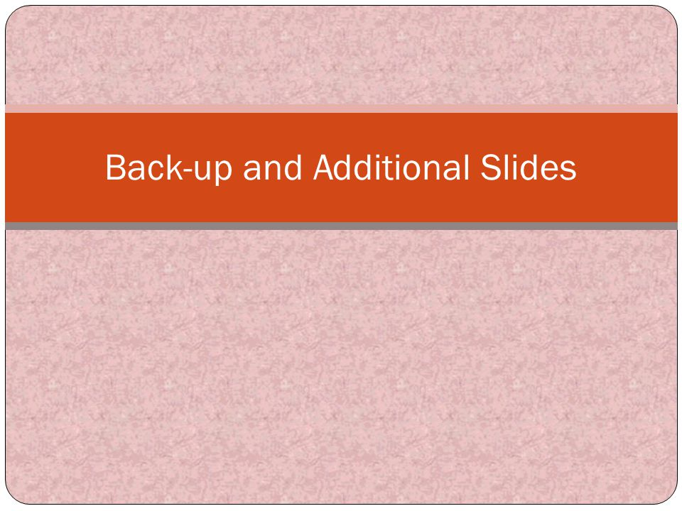 Back-up and Additional Slides