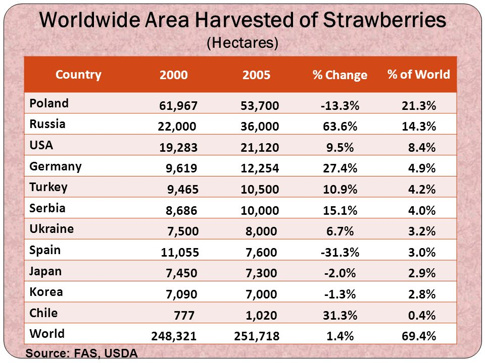 Worldwide Area Harvested of Strawberries (Hectares)