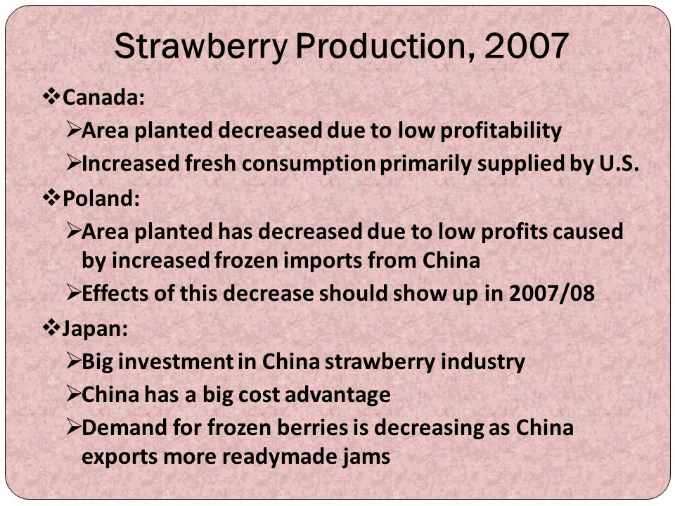 Strawberry Production, 2007