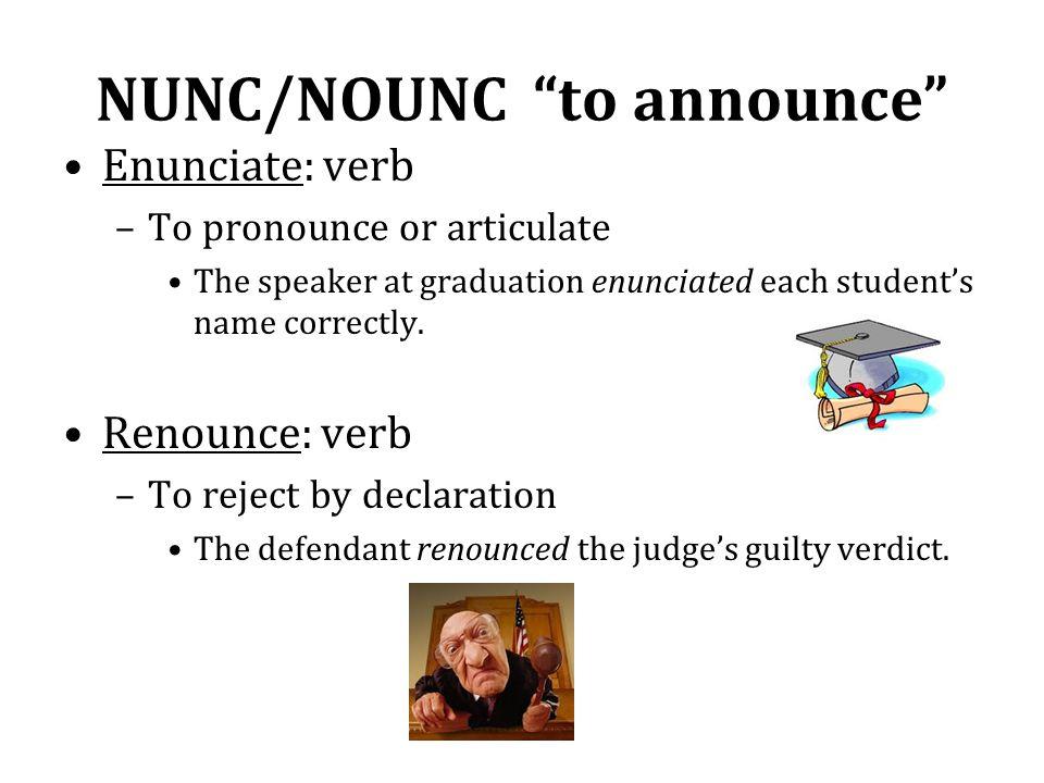 NUNC/NOUNC to announce