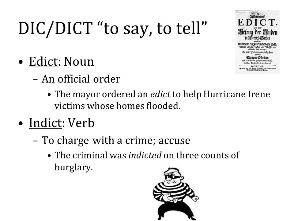 DIC/DICT to say, to tell