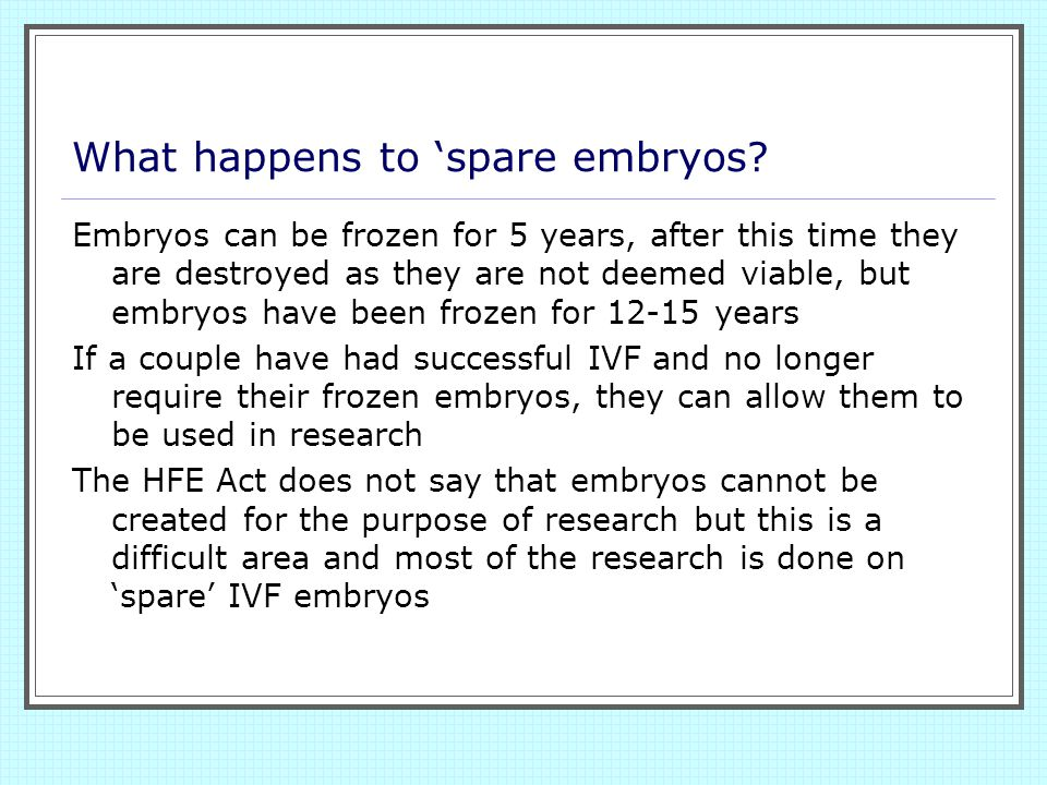 What happens to 'spare embryos