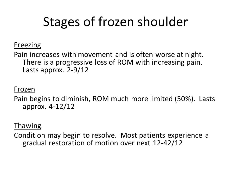 Stages of frozen shoulder