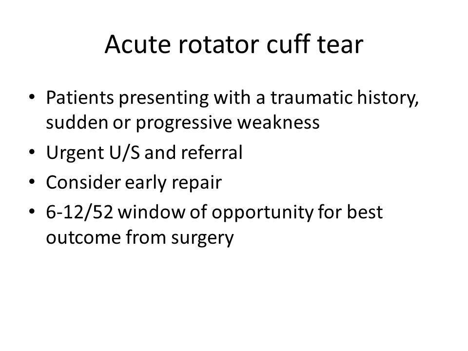 Acute rotator cuff tear