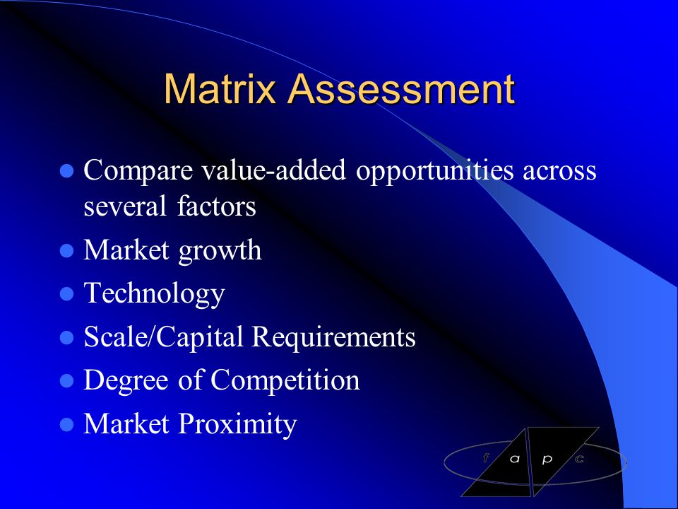 Matrix Assessment Compare value-added opportunities across several factors. Market growth. Technology.