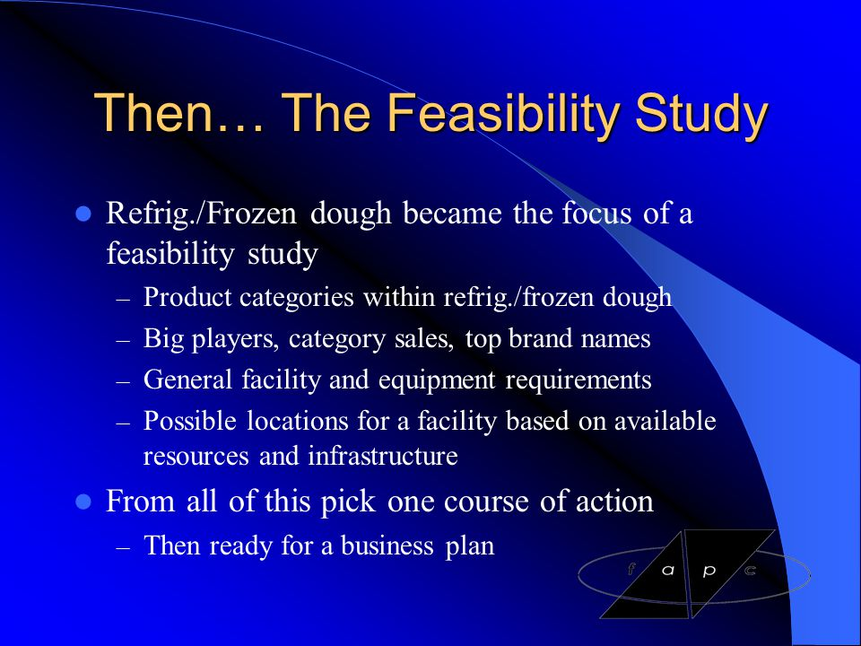 Then… The Feasibility Study