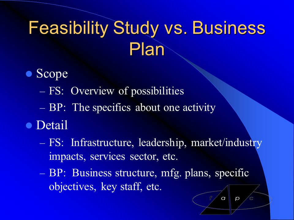 Feasibility Study vs. Business Plan
