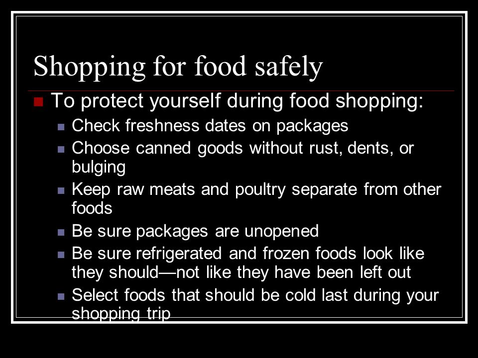 Shopping for food safely