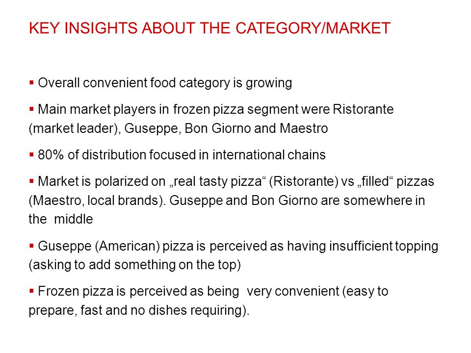 KEY INSIGHTS ABOUT THE CATEGORY/MARKET