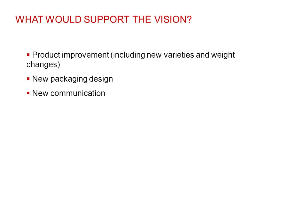 WHAT WOULD SUPPORT THE VISION