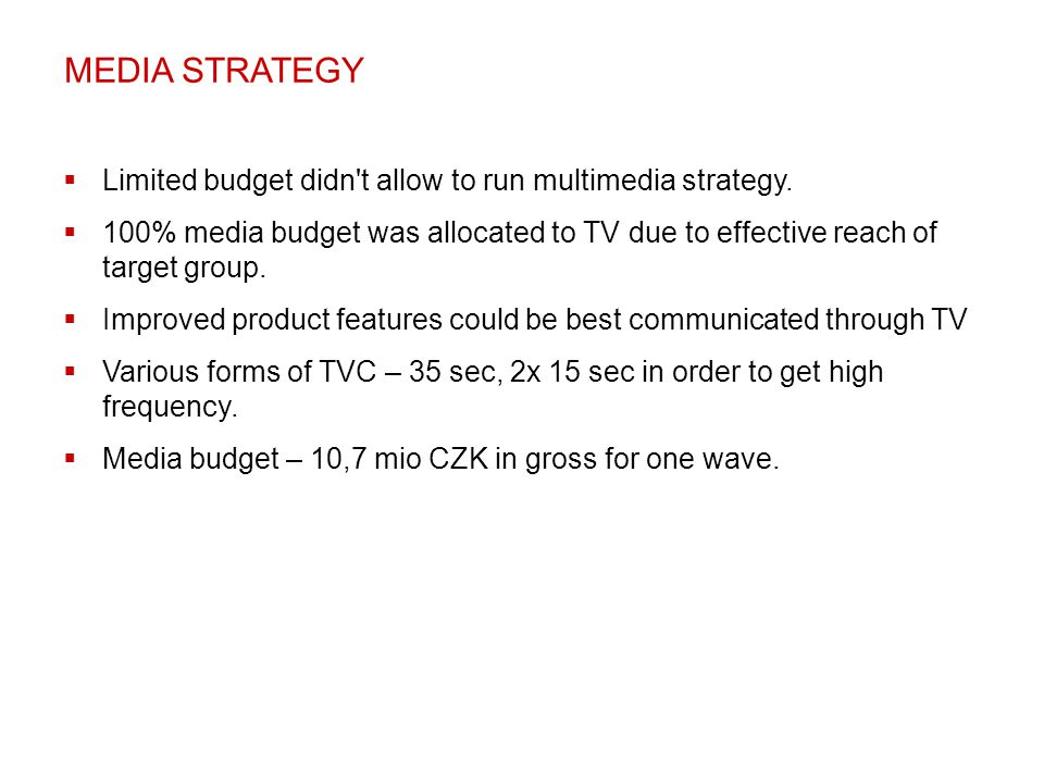 MEDIA STRATEGY Limited budget didn t allow to run multimedia strategy.