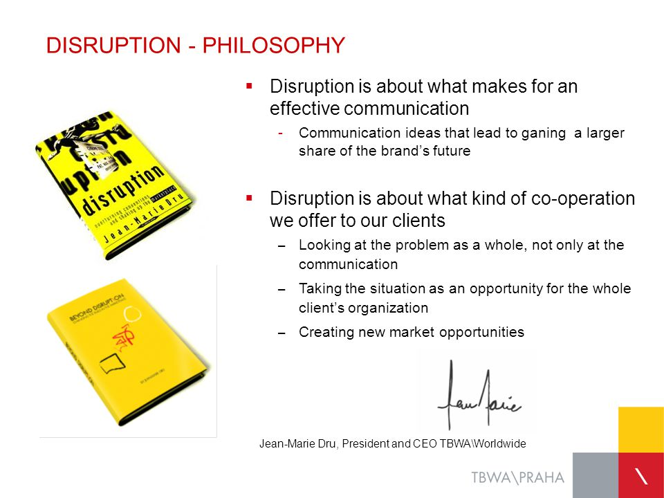 DISRUPTION - PHILOSOPHY