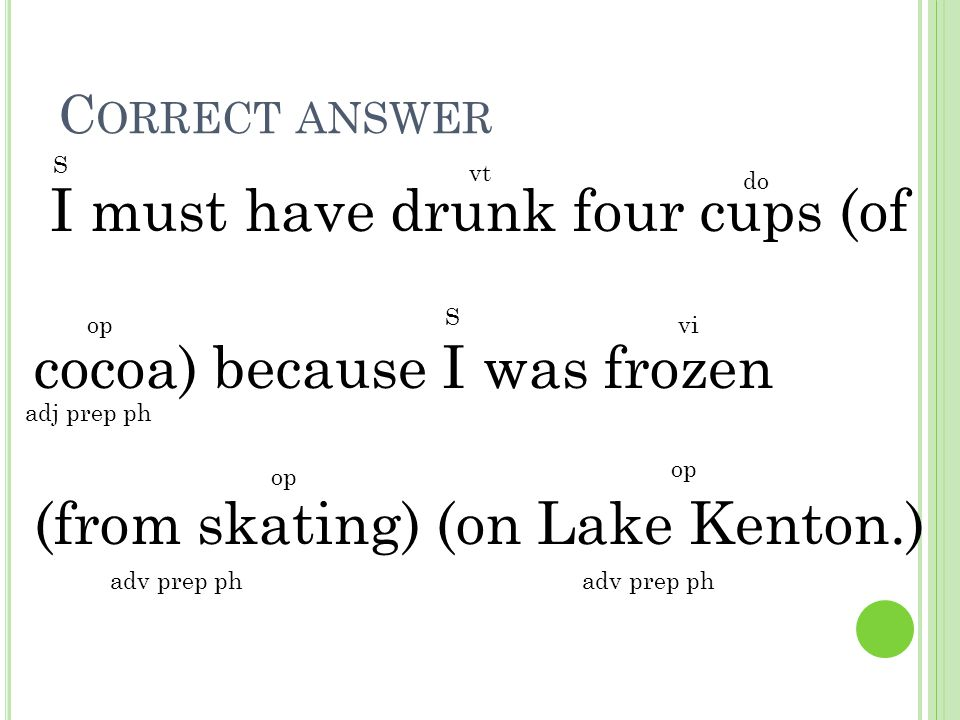 Correct answer S. vt. do. I must have drunk four cups (of cocoa) because I was frozen (from skating) (on Lake Kenton.)
