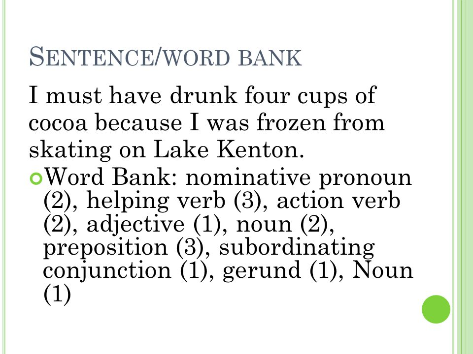 Sentence/word bank I must have drunk four cups of
