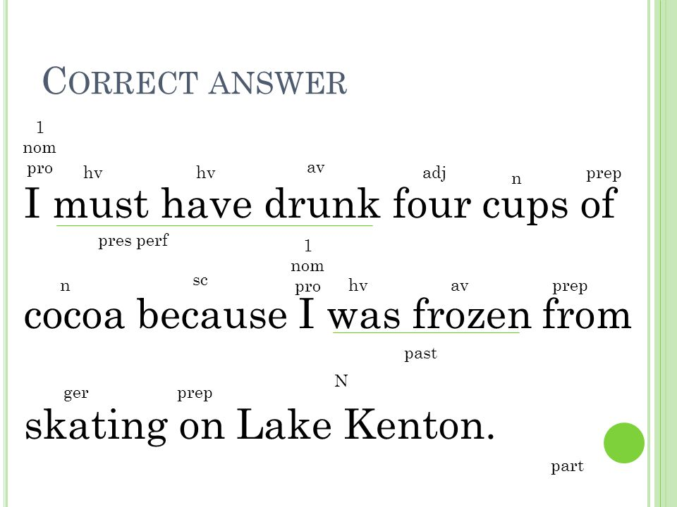 Correct answer 1 nom pro. I must have drunk four cups of cocoa because I was frozen from skating on Lake Kenton.