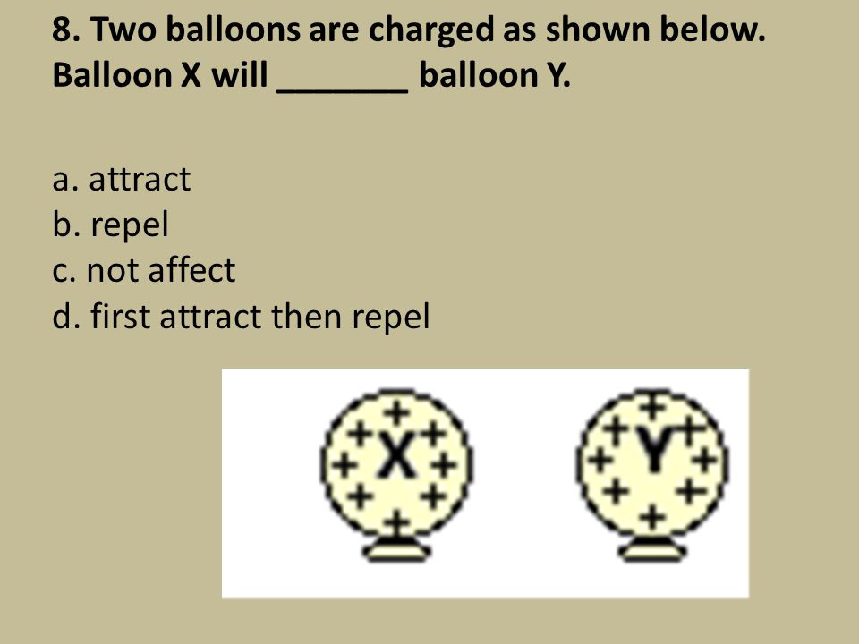 8. Two balloons are charged as shown below