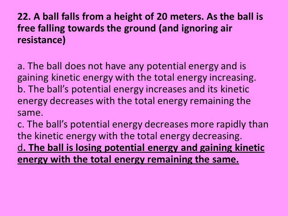 22. A ball falls from a height of 20 meters
