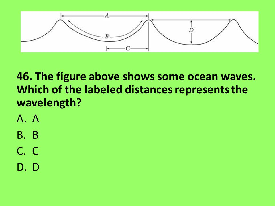 46. The figure above shows some ocean waves