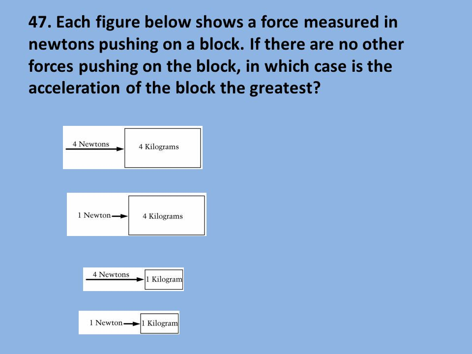 47. Each figure below shows a force measured in newtons pushing on a block.