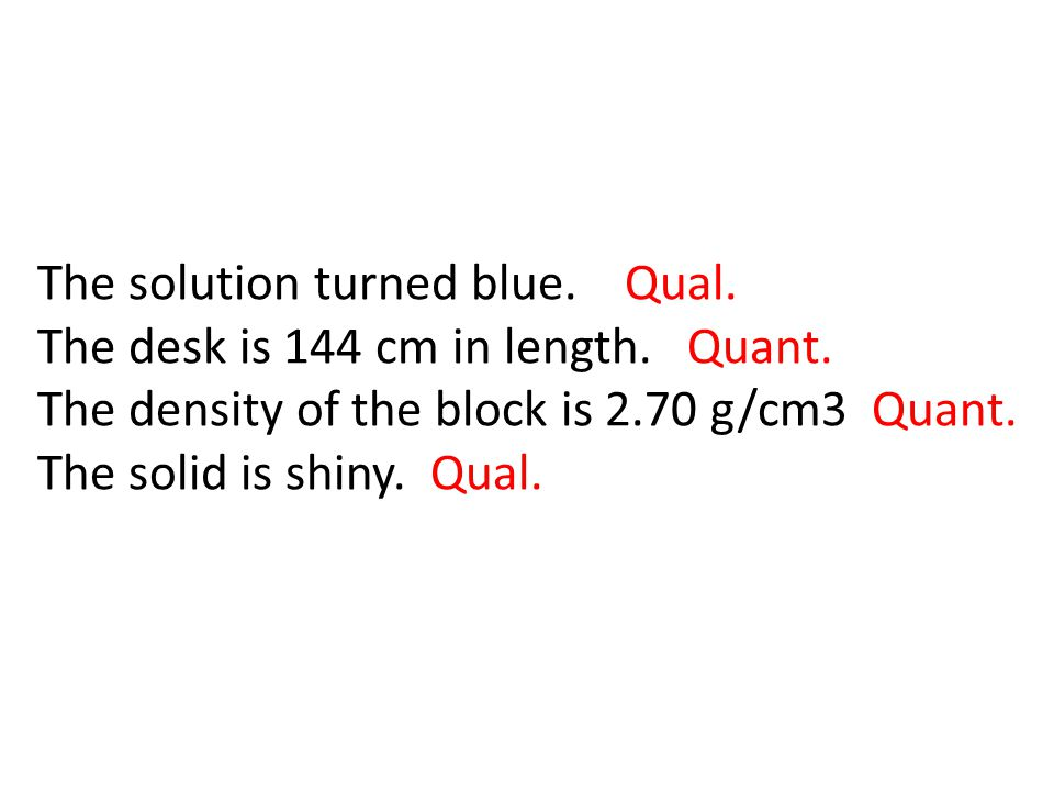 The solution turned blue. Qual. The desk is 144 cm in length. Quant