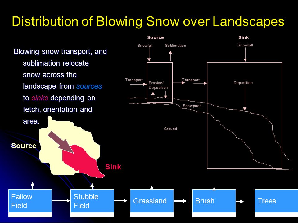 Distribution of Blowing Snow over Landscapes