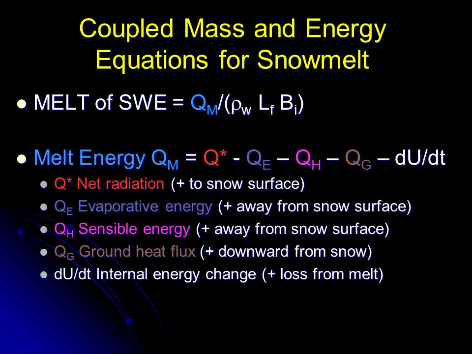 Coupled Mass and Energy Equations for Snowmelt