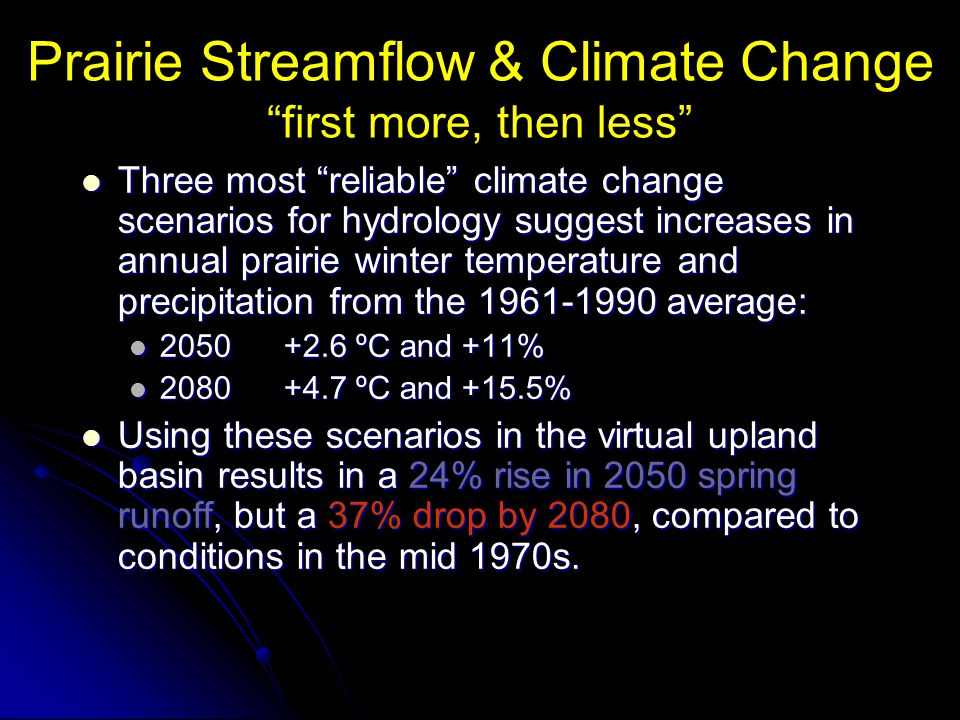 Prairie Streamflow & Climate Change first more, then less