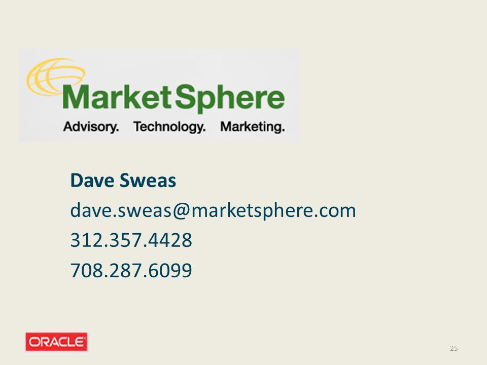 Dave Sweas dave.sweas@marketsphere.com 312.357.4428 708.287.6099