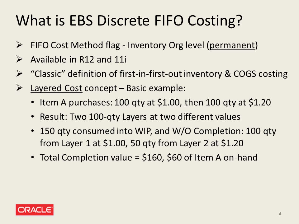 What is EBS Discrete FIFO Costing