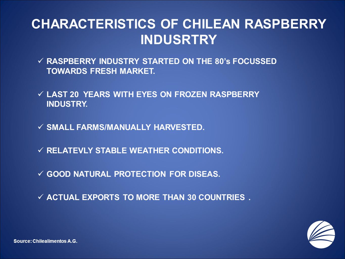 CHARACTERISTICS OF CHILEAN RASPBERRY INDUSRTRY