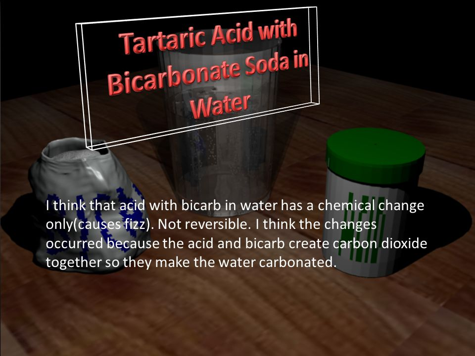 Tartaric Acid with Bicarbonate Soda in Water