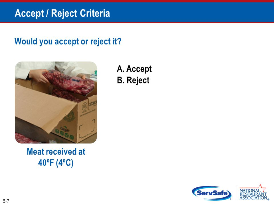 Accept / Reject Criteria