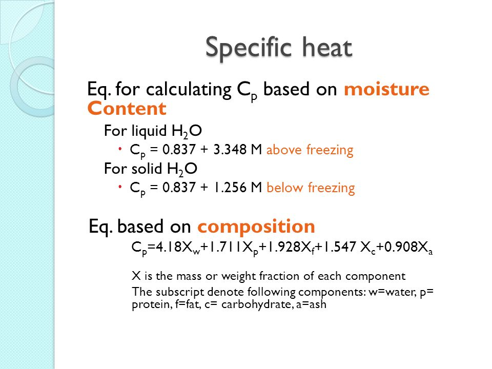 Specific heat Eq. for calculating Cp based on moisture Content