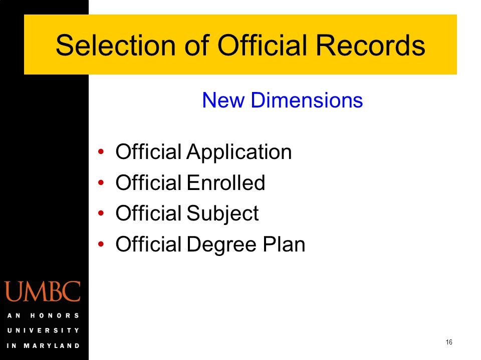 Selection of Official Records