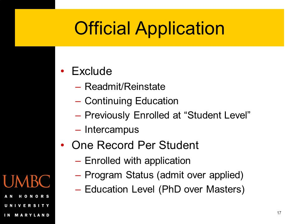 Official Application Exclude One Record Per Student Readmit/Reinstate