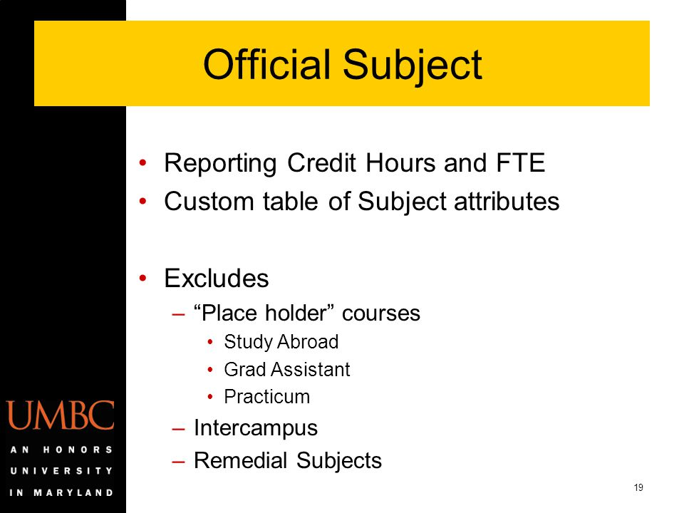 Official Subject Reporting Credit Hours and FTE