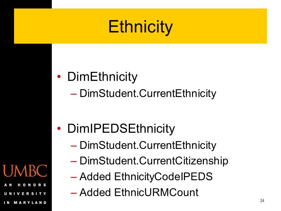 Ethnicity DimEthnicity DimIPEDSEthnicity DimStudent.CurrentEthnicity