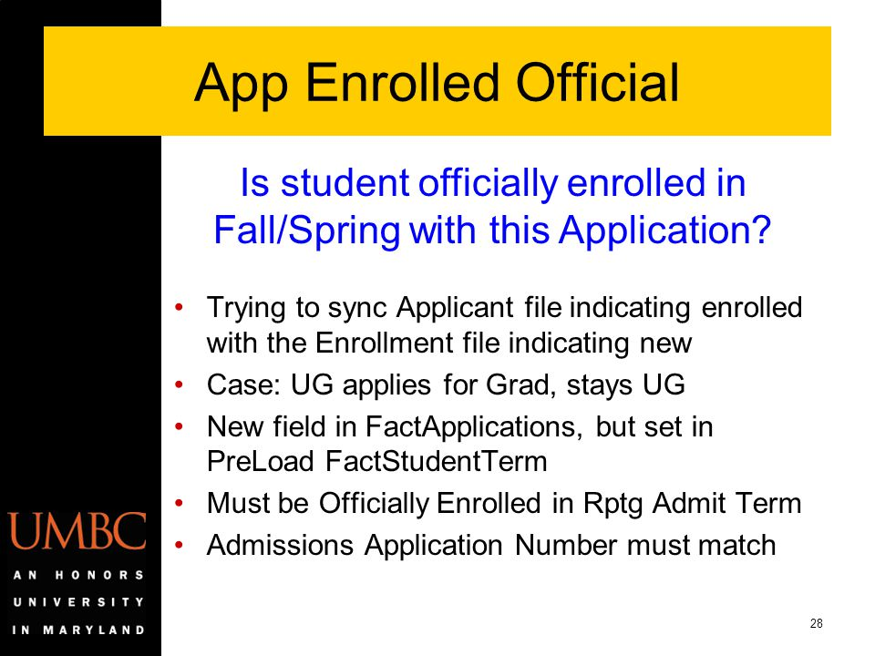 Is student officially enrolled in Fall/Spring with this Application