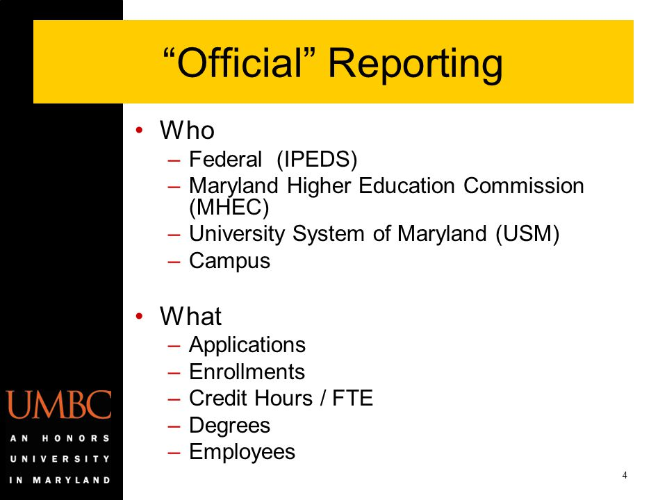 Official Reporting Who What Federal (IPEDS)