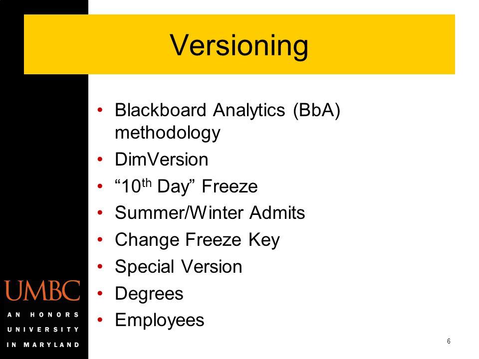 Versioning Blackboard Analytics (BbA) methodology DimVersion