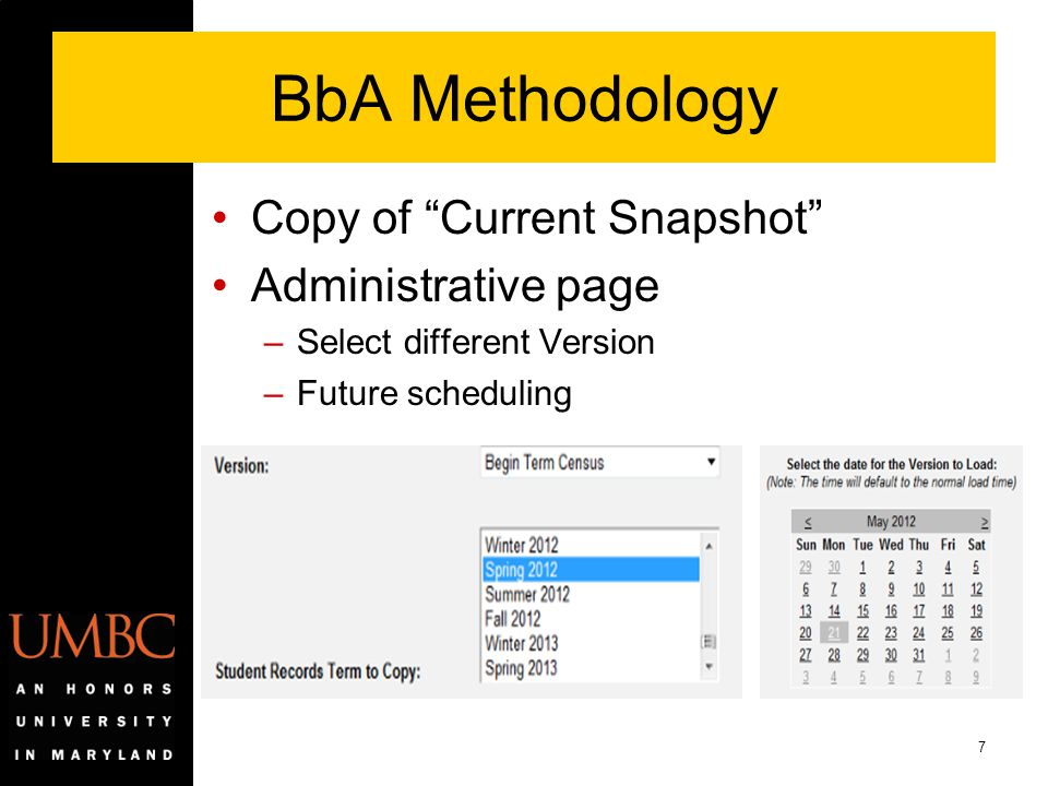 BbA Methodology Copy of Current Snapshot Administrative page