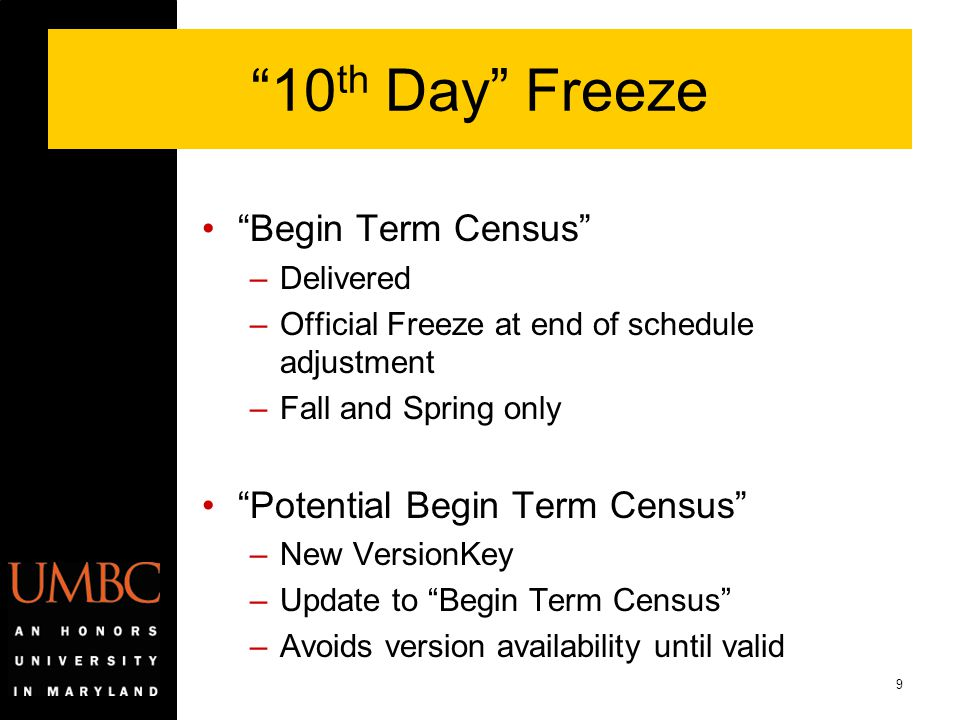 10th Day Freeze Begin Term Census Potential Begin Term Census