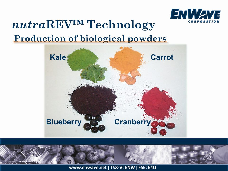 nutraREV™ Technology Production of biological powders Kale Carrot