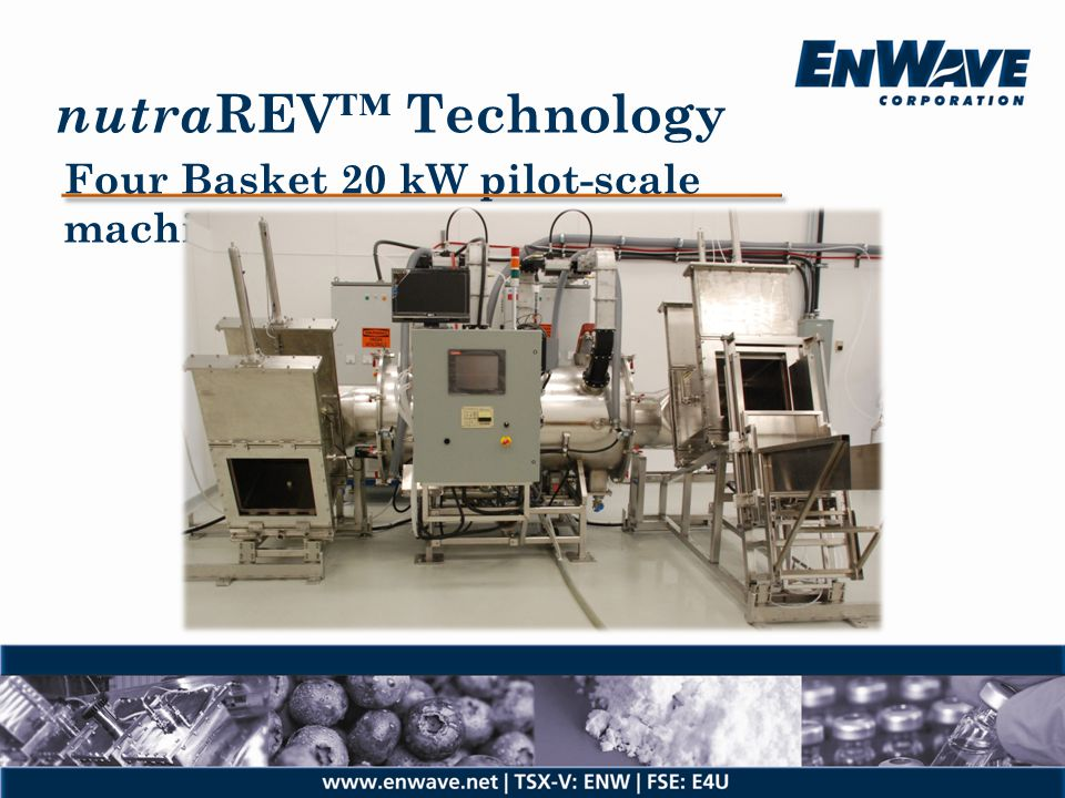 nutraREV™ Technology Four Basket 20 kW pilot-scale machine