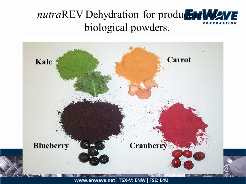 nutraREV Dehydration for production of biological powders.